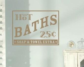 Hot Baths Vinyl Decal - Bathroom Wall Decal