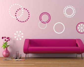 Retro Circles Wall Decal - Circle Decals - Children Wall Decal - Polka Dot Stickers - Teen Bedroom Decor