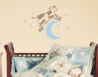 Cow Jumped Over the Moon Wall Decal, Neutral Nursery Decor, Baby Wall Decals, Nursery Wall Decals