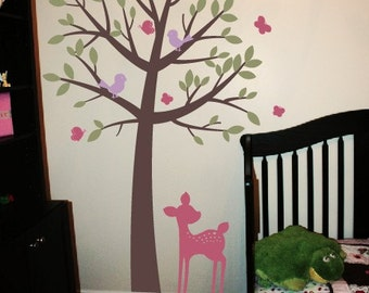 Tree Wall Decal Set, Woodland Friends, Woodland Wall Decal, Childrens Wall Decals, Bird Wall Decal, Playroom Decal, Girls Bedroom