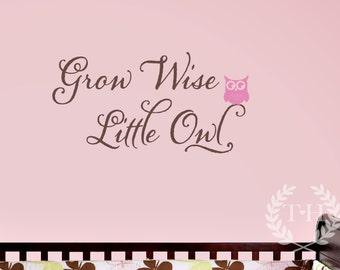 Grow Wise Little Owl Wall Decal - Children Nursery Vinyl Decal - Girl Boy