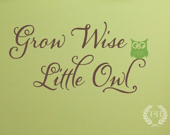 Grow Wise Little Owl Wall Decal, Children Wall Decals, Nursery Wall Decals, Playroom Wall Decor, Owl Wall Decals