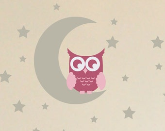 Owl on the Moon Wall Decal Set, Childrens Wall Decals, Nursery Wall Decals, Owl Nursery Decor, Owl Bedroom