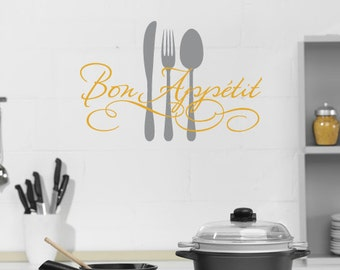 Bon Appetit Vinyl Wall Decal, Dining Room Wall Art, Kitchen Wall Decal