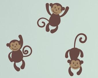 Monkey Vinyl Wall Decals - Baby Nursery Boy Girl Children - Three Little Monkeys