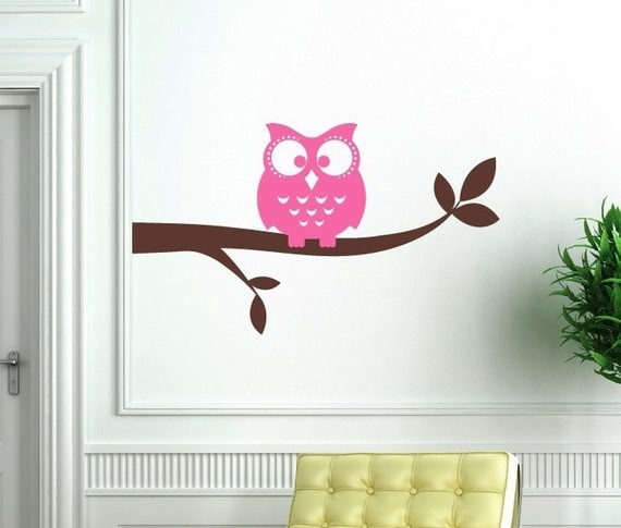 Owl on a Branch (2 Colors) Vinyl Wall Decal