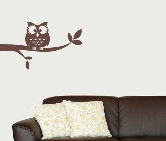 Owl on a Branch Vinyl Wall Decal