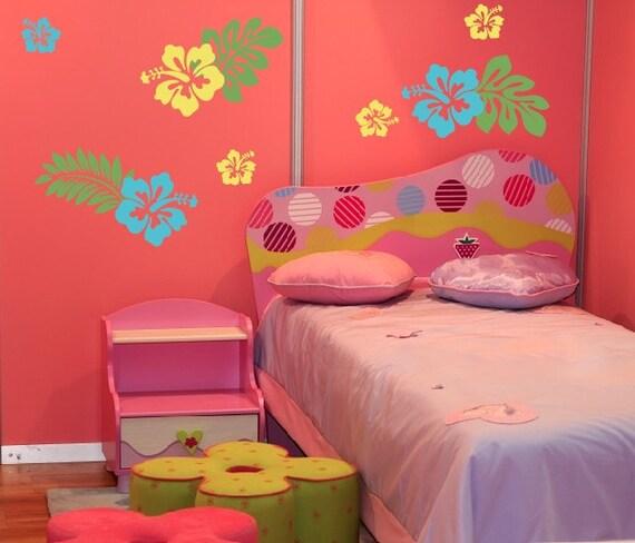 Hibiscus Flowers Wall Decal, Flower Wall Decal, Girl Bedroom Decor, Hawaii Decor, Hawaiian Luau Decorations