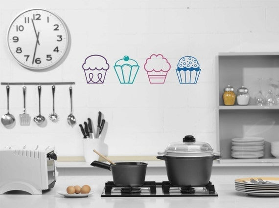 Cupcakes Vinyl Wall Decal Girls Bedroom Kitchen Wall Art