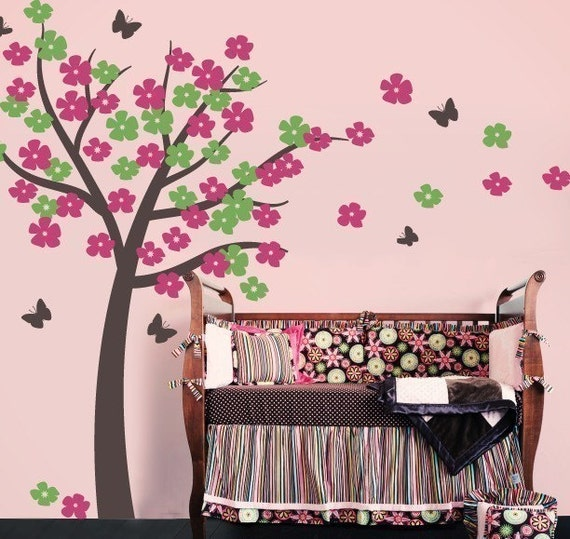Tree Decal for Nursery, Tree Wall decal, Butterfly Wall Decals, Baby Girl Nursery, Girls Bedroom Decor, Butterfly Tree
