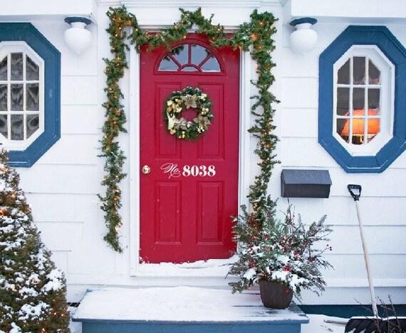 Custom House Number Door Vinyl Decal, Front Door Decals