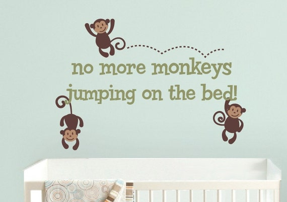 Monkeys Jumping on the Bed Wall Decal, Monkey Wall Decals, Nursery Wall Decal, Children Wall Stickers, Jungle Nursery Decor
