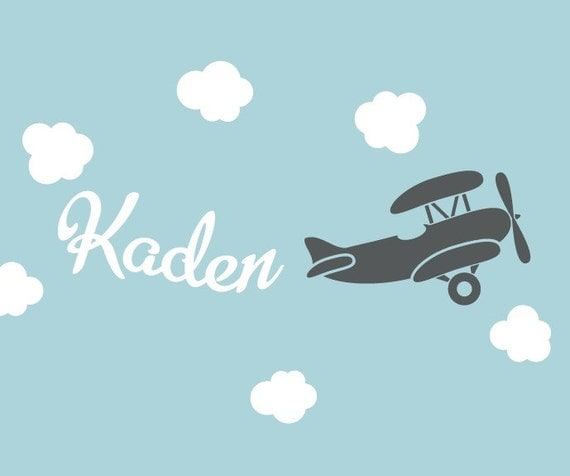 Airplane with Name Vinyl Wall Decal - Nursery Playroom - Children Wall Decal - Name Wall Decal