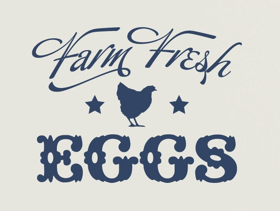 Farm Fresh Eggs Vinyl Wall Decal, Country Decor, Kitchen Wall Decal