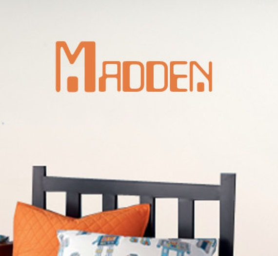 Boys Name Wall Decals, Robot Room Decor, Boys Personalized Name, Childrens Bedroom