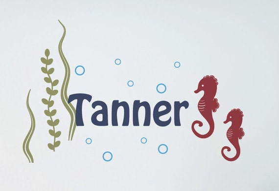 Seahorse Wall Decals, Boy Name Decal, Personalized Vinyl Decals, Sea Ocean Friends Decals, Sea Vinyl Decals, Ocean Wall Stickers