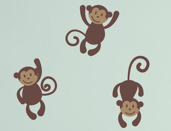 Monkey Vinyl Wall Decals Baby Nursery Boy Girl Children