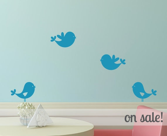 ON SALE Sweet Bird Wall Decals - Set of 4 - Teal