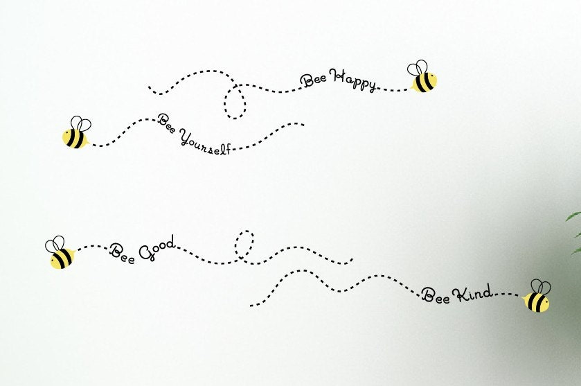 Description A Set Of Four Little Bee Wall Decals