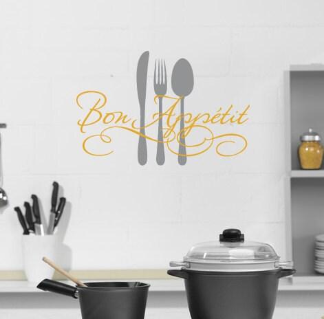 Bon appetit vinyl wall decal dining room wall art kitchen for Dining room vinyl wall art