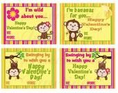 INSTANT DOWNLOAD Digital Monkey Children's Valentine's Day Printable Cards DIY