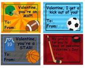 INSTANT DOWNLOAD Digital Sports HOCKEY only Boy Children's Valentine's Day Printable Cards
