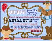 Digital Lil Bucaroo Cowboy Baby Shower Invitation Printable