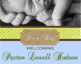 Digital Green Dots Simple Baby Boy Blue Announcement Printable DIY