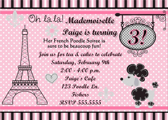 Items Similar To DIGITAL Pink French Poodle In Paris Polka Dots - Birthday invitation cards in french