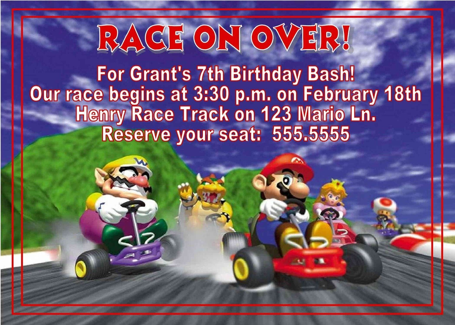Pool party birthday party invitations printable or digital - Digital Mario Kart Birthday Invitation You Print Thank You
