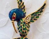 Vintage Large Hummingbird Brooch Colorful enamel and rhinestones