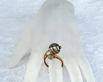 Brass and Glass Bead Wire Wrap Ring