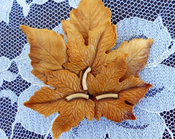 1940s Celluloid Brooch Carved Leaves Recycled from an Earring