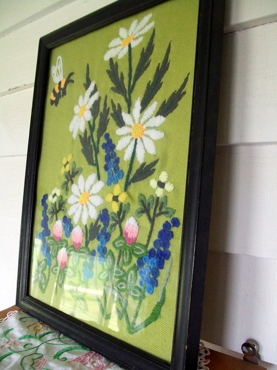 Vintage Crewel Embroidered Picture.....In the Garden with flowers and BEES