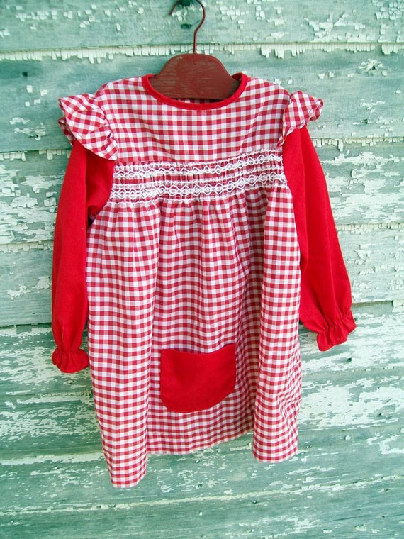 Little Red Checkered Gingham Dress Girls Size 6
