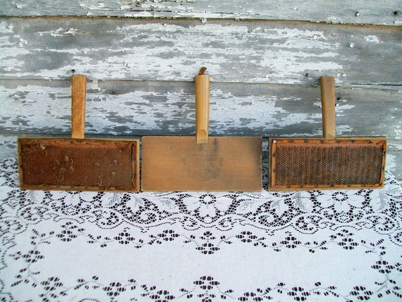 An Antique Lot of 3 Wool Carding paddle combs