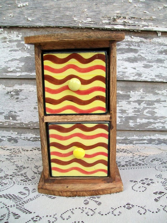 Vintage Wood Box with Drawers and Ceramic Tile Front with Retro Stripes