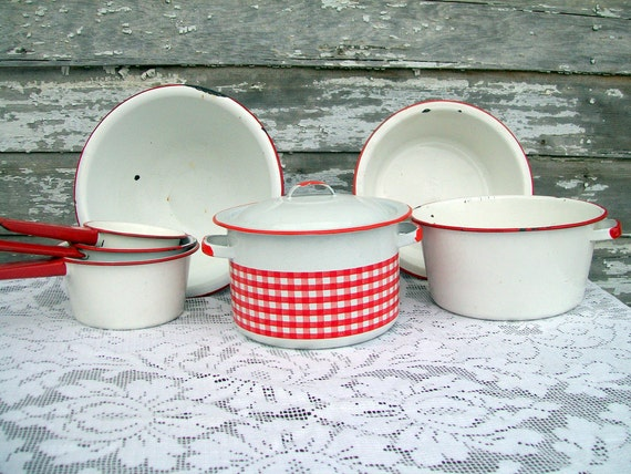 Enamelware Red Gingham Checkered  1 piece only RESERVED FOR CLOIE