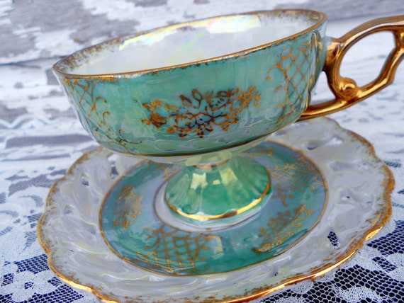 Hand painted Footed Tea Cup Teacup & Saucer Green and Gold