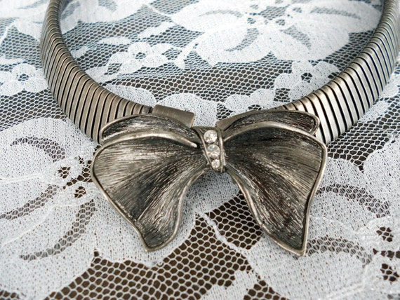 Vintage Choker Collar Necklace with Rhinestone Bow Art Deco RESERVED FOR LookBOOK