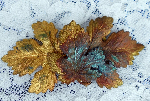 Art Deco Brass Dress Clips Or belt becklace Leaves with Green Patina
