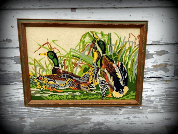 Vintage Framed Ducks Needlepoint Petite stitch Fabulous