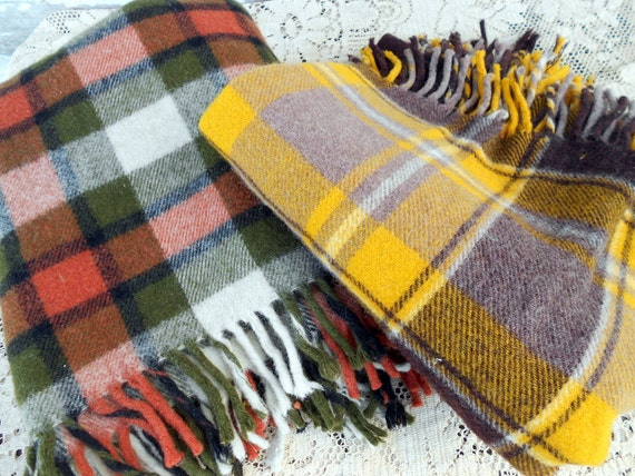 Vintage lot Two Wool Tartan Plaid Blankets Green and Yellow