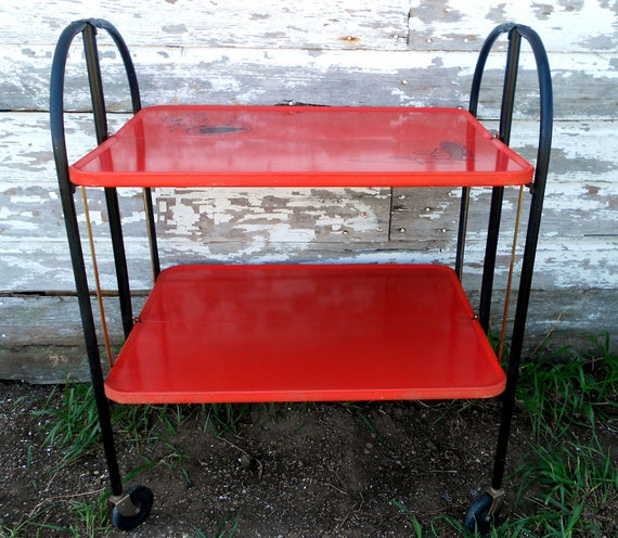 Cosco Chippy Red Metal Kitchen Cart Movable Painted Vintage: Metal Serving Cart Kitchen Cart Retro Red By Holliezhobbiez