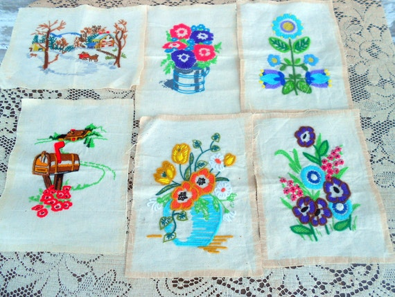 Vintage Crewel embroidery pictures set of 6  Flowers and rural scenes