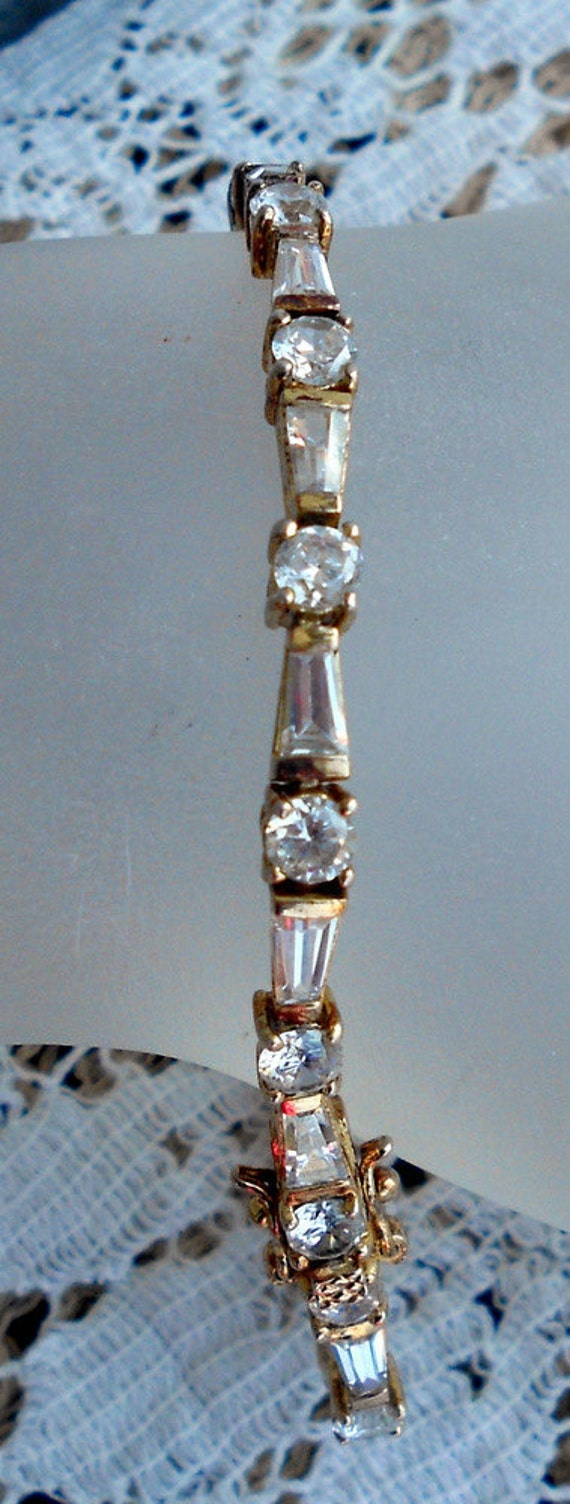 Vintage Cubic Zirconia CZ 925 Silver gold Vermeil  Tennis bracelet. Super blinging