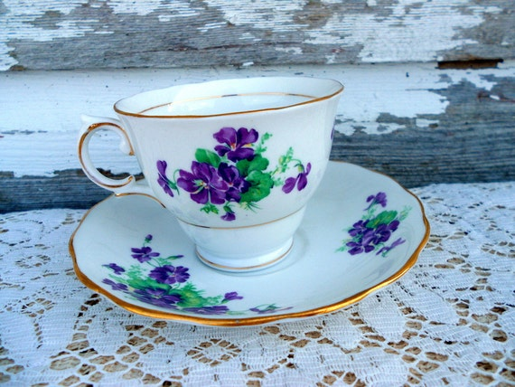 Tea Cup Teacup & Saucer Violets purple flowers English Bone China
