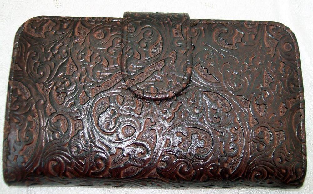 Vintage Vegan Faux Tooled Leather Vinyl Clutch Wallet
