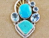 Necklace, Sterling Silver, Turquoise & Blue Drusy Filigree