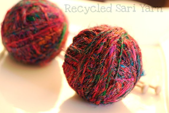 Recycled Sari Silk Yarn Balls - 100g